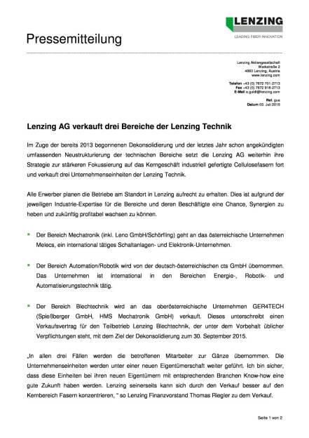Lenzing AG verkauft drei Bereiche der Lenzing Technik, Seite 1/2, komplettes Dokument unter http://boerse-social.com/static/uploads/file_202_lenzing_technik.pdf (03.07.2015)