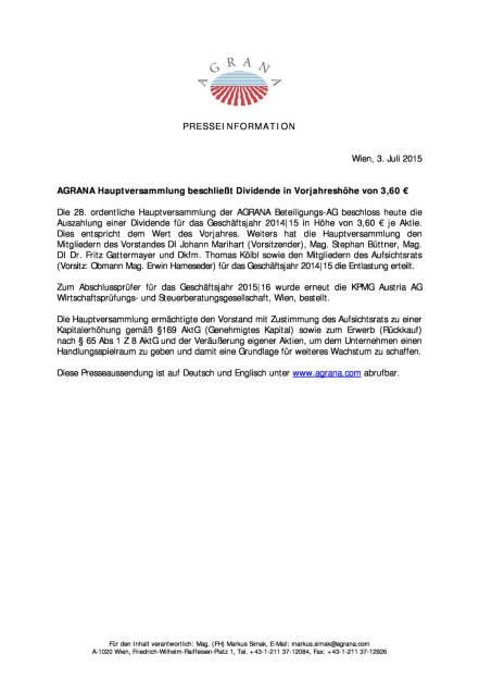 Agrana HV beschließt 3,60 Euro Dividende , Seite 1/1, komplettes Dokument unter http://boerse-social.com/static/uploads/file_203_agrana_hv_beschliesst_360_euro_dividende.pdf (03.07.2015)