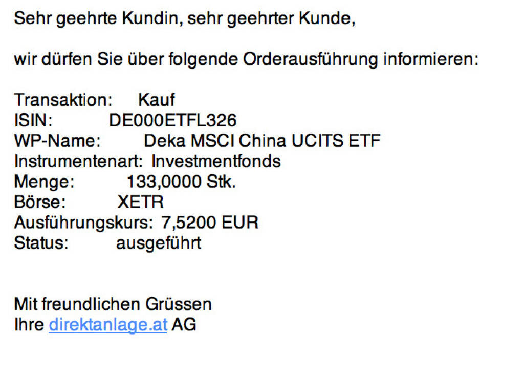 Tag 2: 133 Deka MSCI China UCITS ETF zu 7,52 (13.07.2015)