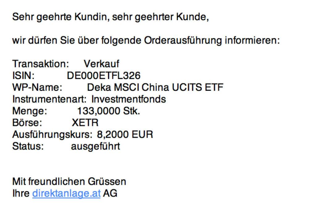 Tag 8/1: Verkauf 133 Deka MSCI China UCITS ETF zu 8,20  (16.07.2015)