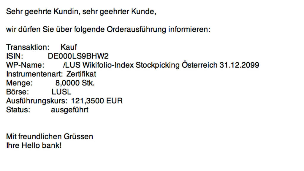 Tag 12/3: Kauf 8 Wikifolio-Index Stockpicking Österreich zu 121,35 http://www.wikifolio.com/de/DRASTIL1 (22.07.2015)