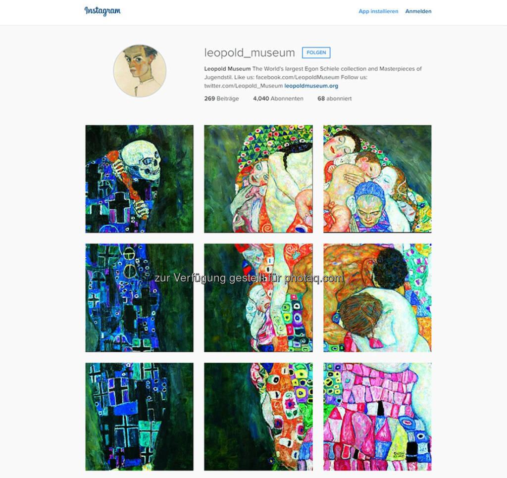 Motiv: Gustav Klimt (1862-1918), Tod und Leben, 1910/11, umgearbeitet 1915/16, Leopold Museum : Screenshot Instagram Kanal Leopold Museum, Wien : Über 4000 Follower - Österreichs Top-Museum auf der Online-Foto-Plattform : Fotograf: Manfred Thumberger Fotocredit: Leopold Museum, Wien, © Aussendung (30.07.2015)