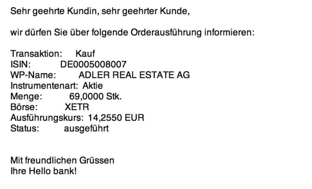 Tag 21: Kauf 69 Adler Real Estate zu 14,255 (04.08.2015)