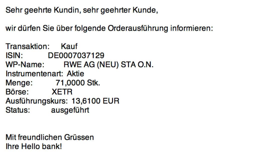 Tag 36: Kauf 71 RWE zu 13,61 Euro (25.08.2015)
