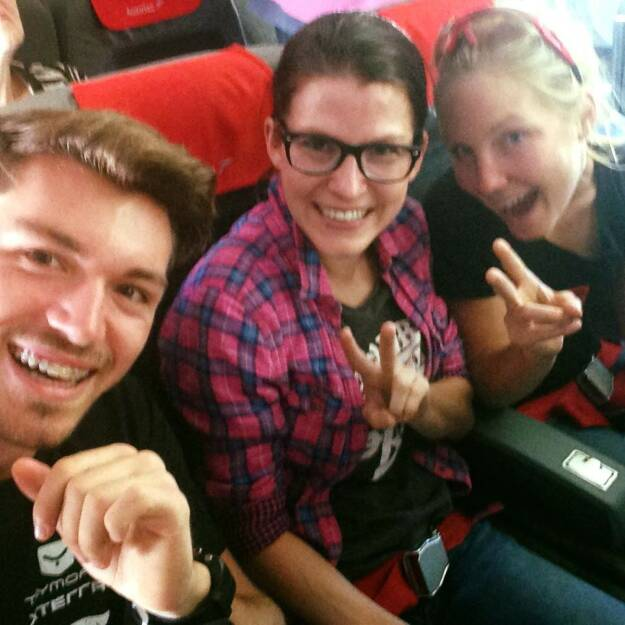 Dominik Wychera, Corinna Choun, Sandra Koblmüller auf dem Weg zum Xterra in Dänemark (26.08.2015)