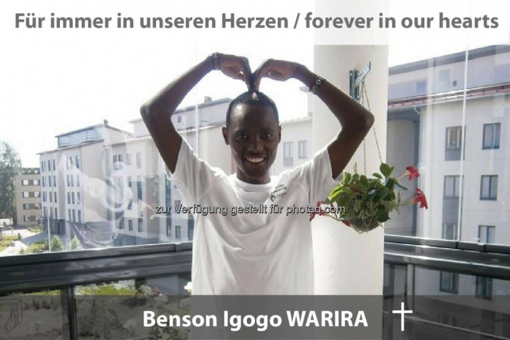 Benson Igogo Warira: Der talentierte und stets fröhliche Run2gehter-Läufer ist am 20. August bei einem Verkehrsunfall in Finnland tödlich verunglückt., © Run2gether (27.08.2015)