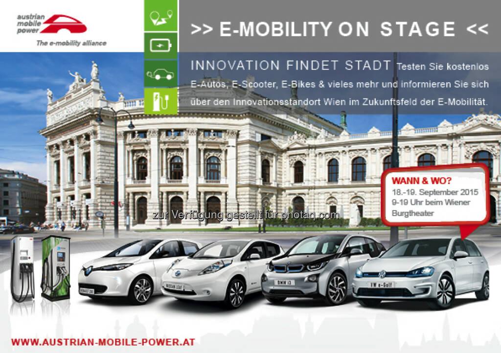 """""""E-Mobility on Stage"""" zeigt Innovation aus und für Wien : Elektromobilität ist ein zentraler Baustein für die Stadt der Zukunft - um diese smarter und damit nachhaltig lebenswerter zu gestalten. Die diesjährige E-Mobility on Stage von 18.-19. September beim Wiener Burgtheater zeigt auf, wie Elektromobilität im urbanen Lebensraum eingesetzt und umgesetzt wird, jetzt und in Zukunft : © Aleksandar Todorovic (Burgtheater), © Aussendung (31.08.2015)"""