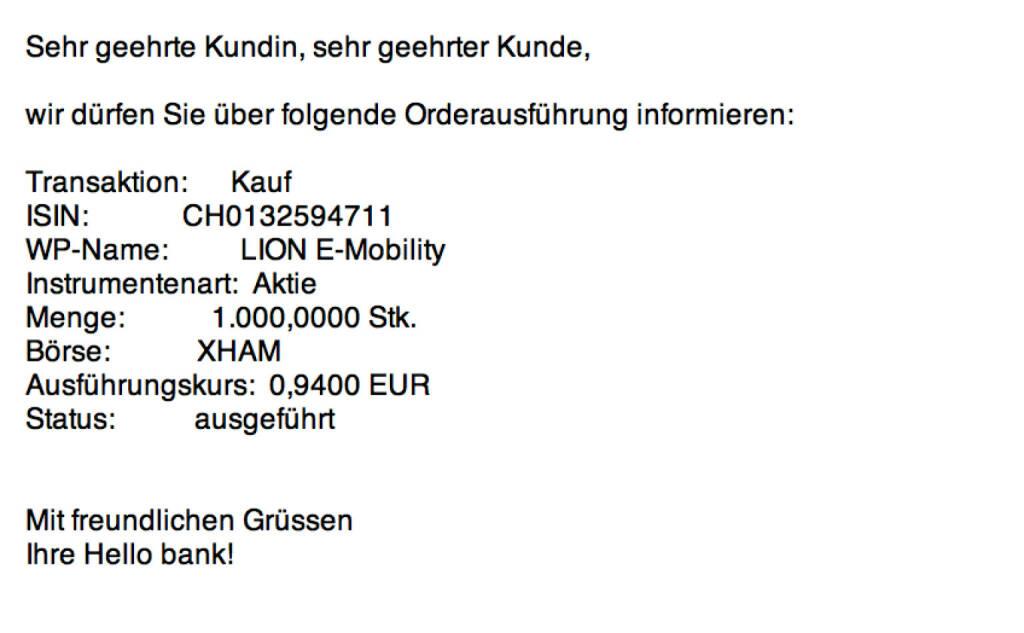 Tag 41: Kauf 1000 Lion E-Mobility zu 0,94 (01.09.2015)