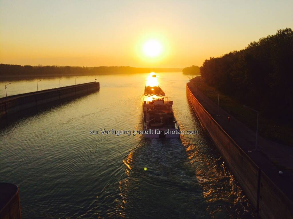 Sonnenaufgang, Schiff, fahren, der Sonne entgegen, Donau, © Martina Draper (01.09.2015)