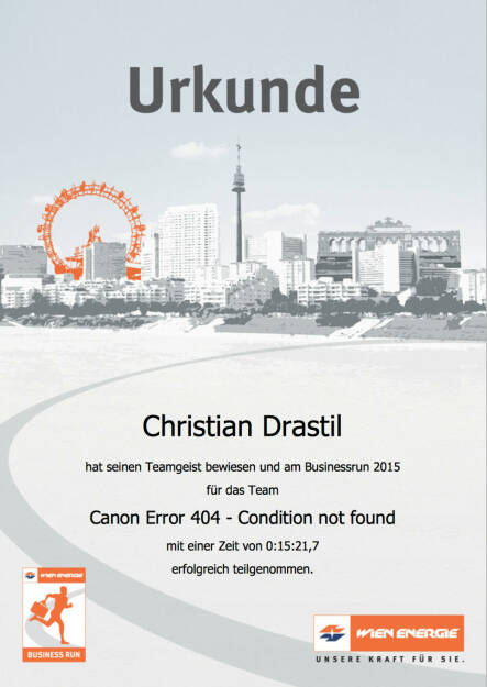 Urkunde zum Wien Energie Business Run 2015 http://www.photaq.com/page/index/2086 (03.09.2015)