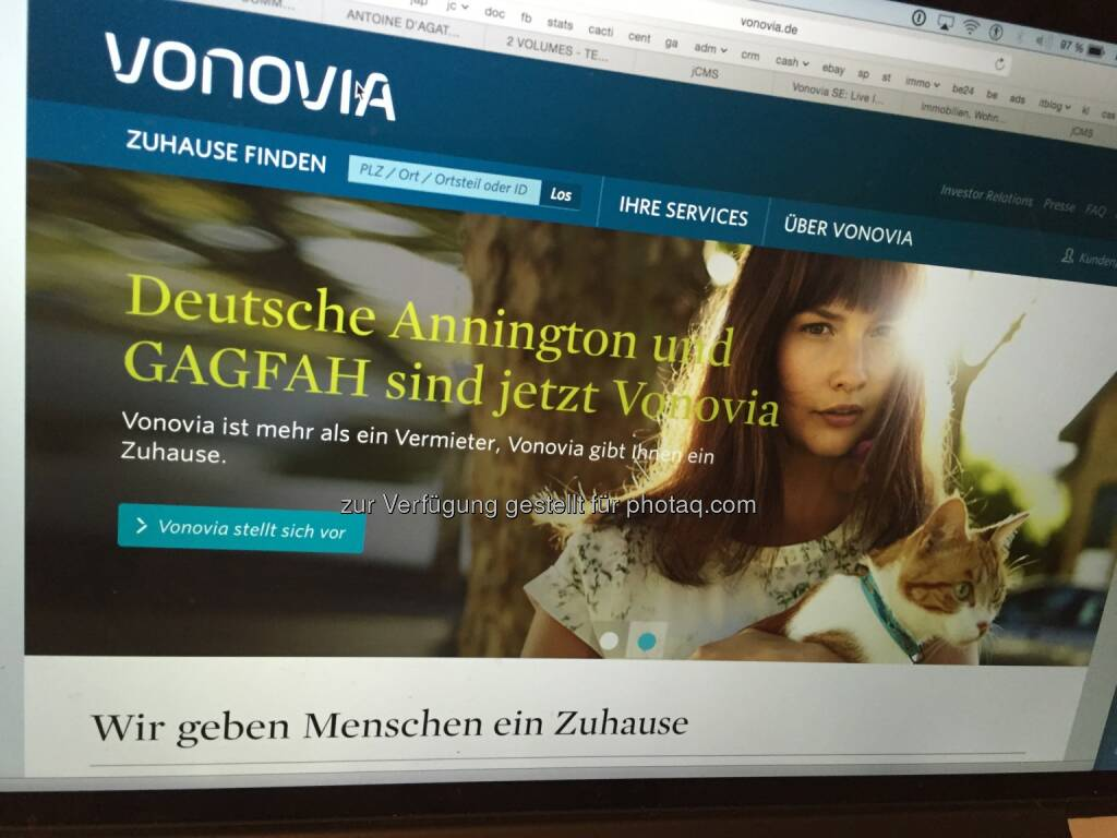 Aus Deutsche Annington wird Vonovia, per 21.9. auch im DAX, Screenshot der Homepage 7.9.2015, © Aussender (07.09.2015)