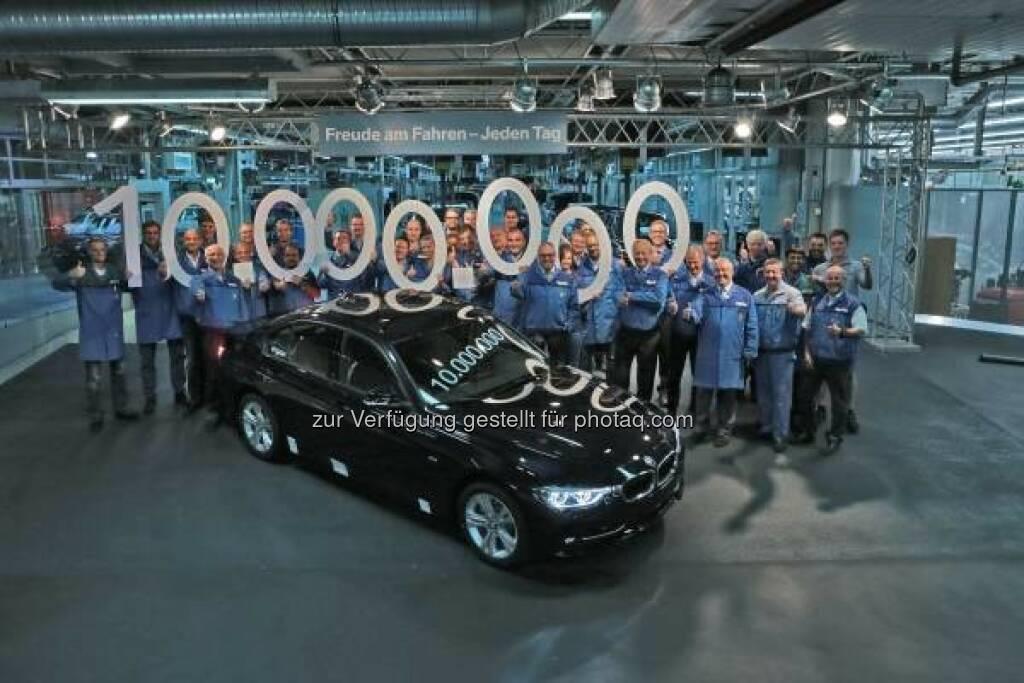 BMW Group Werk München fertigt 10-millionste BMW 3er Limousine : Das Jubiläumsfahrzeug markiert damit einen weiteren Meilenstein in der 40-jährigen Erfolgsgeschichte der BMW 3er Reihe : © BMW Group, © Aussendung (09.09.2015)