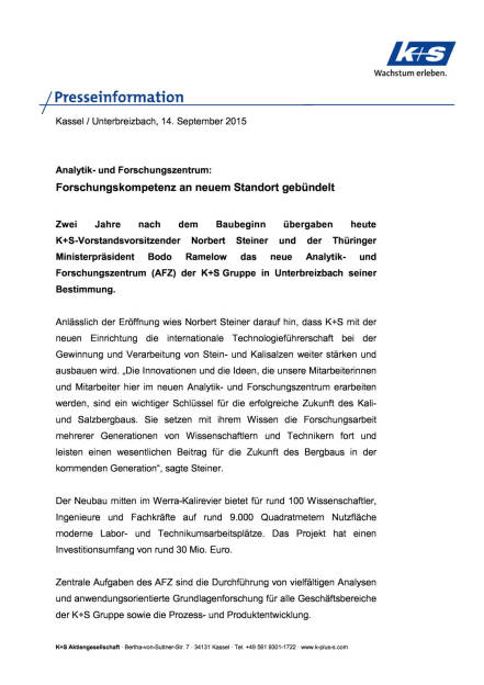 Neues Forschungszentrum der K+S Gruppe, Seite 1/3, komplettes Dokument unter http://boerse-social.com/static/uploads/file_362_neues_forschungszentrum_der_ks_gruppe.pdf (14.09.2015)