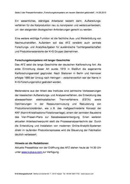 Neues Forschungszentrum der K+S Gruppe, Seite 2/3, komplettes Dokument unter http://boerse-social.com/static/uploads/file_362_neues_forschungszentrum_der_ks_gruppe.pdf (14.09.2015)