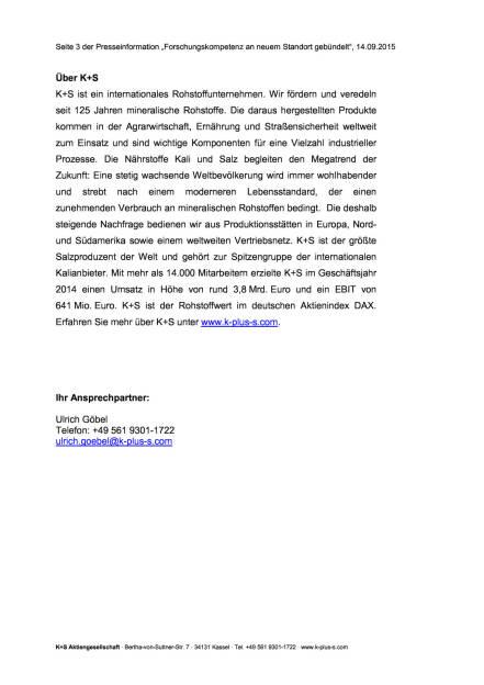 Neues Forschungszentrum der K+S Gruppe, Seite 3/3, komplettes Dokument unter http://boerse-social.com/static/uploads/file_362_neues_forschungszentrum_der_ks_gruppe.pdf (14.09.2015)
