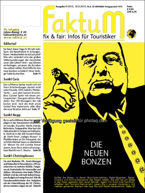 Cover FaktuM 9/2015 : Die neuen Bonzen : Coverstory: Die Mächtigen der Reisebranche © Mucha Verlag, © Aussender (19.09.2015)