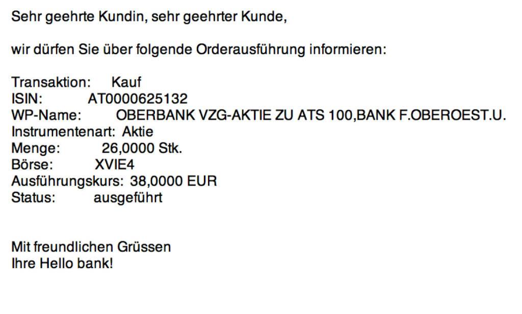 Tag 58: Kauf 26 Oberbank Vzg. zu 38 Euro (24.09.2015)