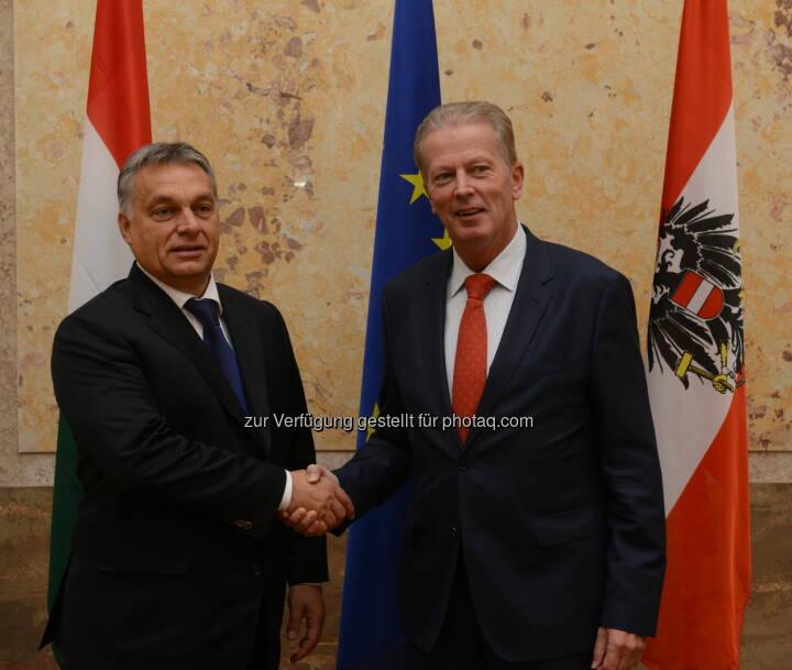 Viktor Orban und Reinhold Mitterlehner: Bundesministerium für Wissenschaft, Forschung und Wirtschaft: Mitterlehner nach Treffen mit Orban: Stärkere Zusammenarbeit vereinbart