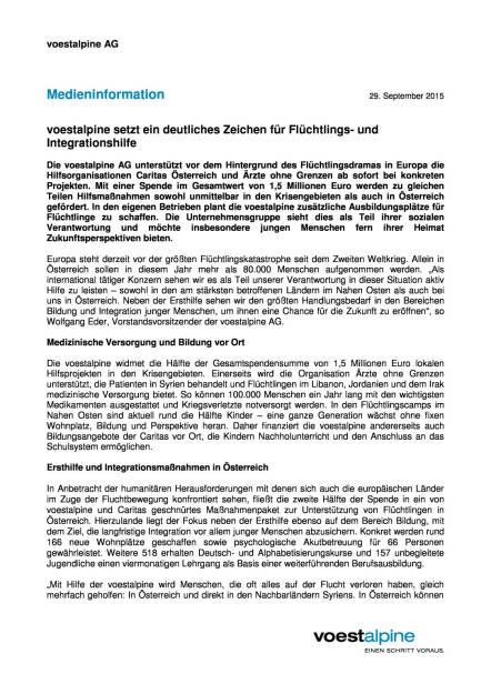 voestalpine setzt ein deutliches Zeichen für Flüchtlings- und Integrationshilfe, Seite 1/2, komplettes Dokument unter http://boerse-social.com/static/uploads/file_388_voestalpine_setzt_ein_deutliches_zeichen_fur_fluchtlings-_und_integrationshilfe.pdf (29.09.2015)