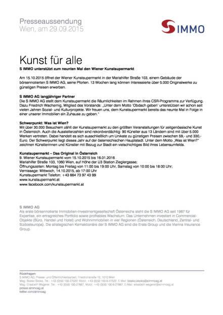 S Immo unterstützt Wiener Kunstsupermarkt, Seite 1/1, komplettes Dokument unter http://boerse-social.com/static/uploads/file_390_s_immo_unterstützt_wiener_kunstsupermarkt.pdf (29.09.2015)