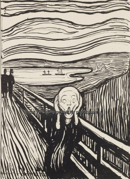 Edvard Munch: Der Schrei, 1895 Lithografie, Privatsammlung Courtesy Galleri K, Oslo: Die Lange Nacht der Museen in der Albertina im Zeichen von Edvard Munch : © Reto Rodolfo Pedrini, Zürich, © Aussendung (01.10.2015)