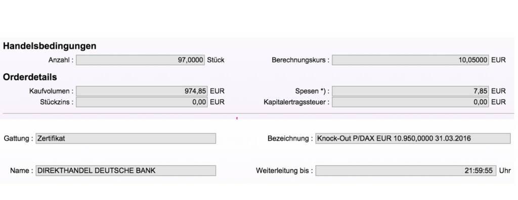 Tag 68: Kauf 97 Stück Knock-Out Put/DAX 10950 31.3.2016 DB AWM (08.10.2015)