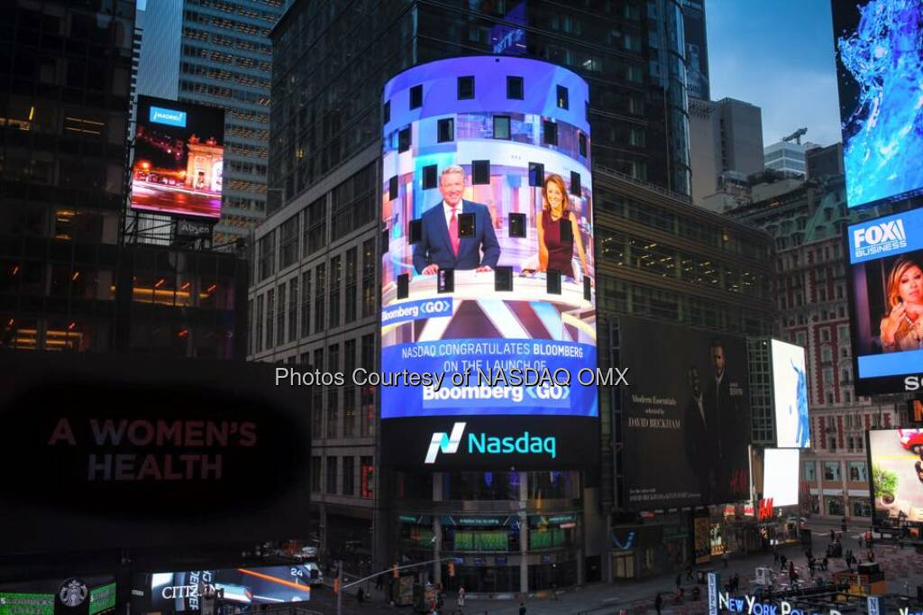 Nasdaq congratulates Bloomberg Television on the launch of #BloombergGo!  David Westin Stephanie Ruhle  Source: http://facebook.com/NASDAQ (11.10.2015)
