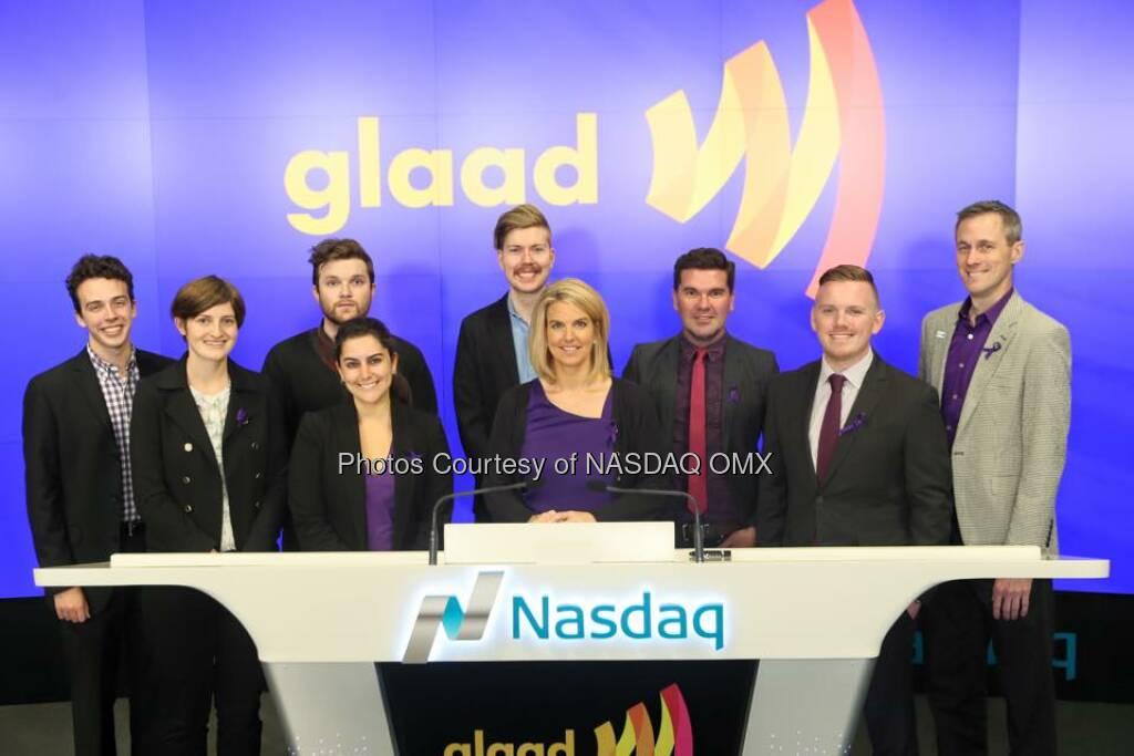 GLAAD rings the Nasdaq Closing Bell for #SpiritDay! #GoPurple  Source: http://facebook.com/NASDAQ (16.10.2015)