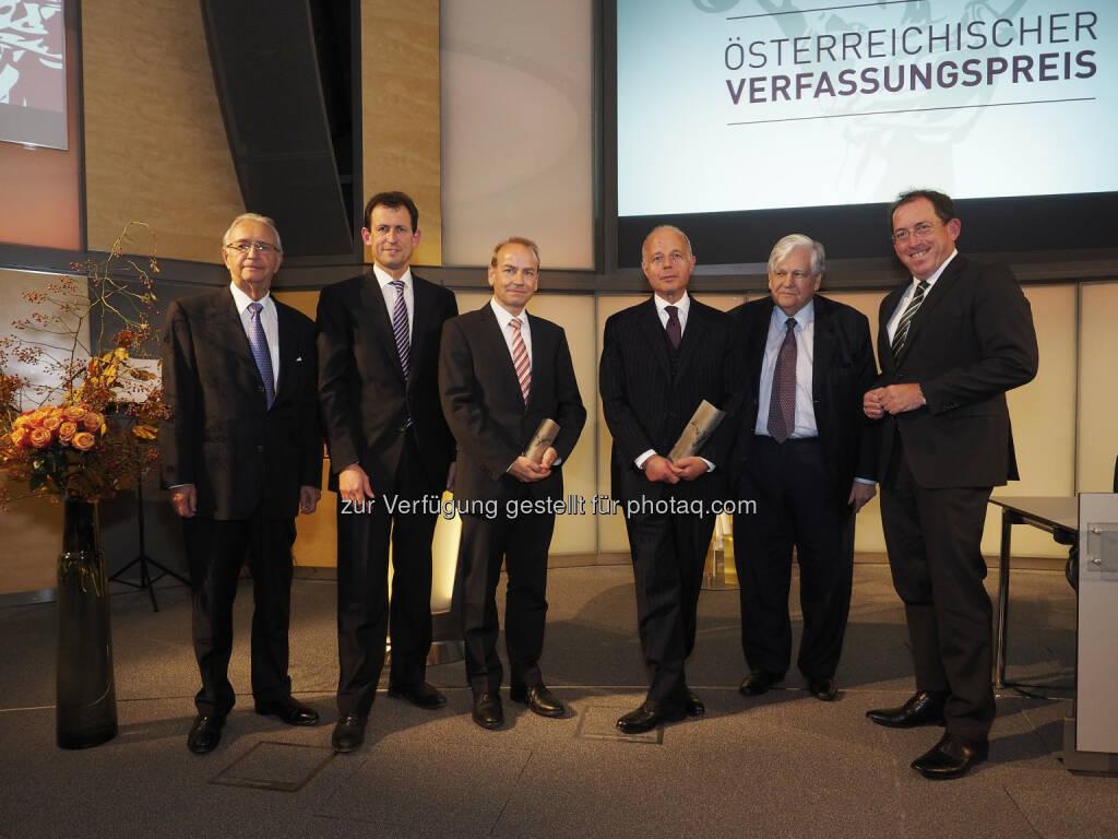 Peter Jann, Christoph Grabenwarter, Benedikt Kommenda, Clemens Jabloner, Karl Korinek, Andreas Koller: Forum Verfassung: Österreichischer Verfassungspreis 2015, © Aussendung (16.10.2015)