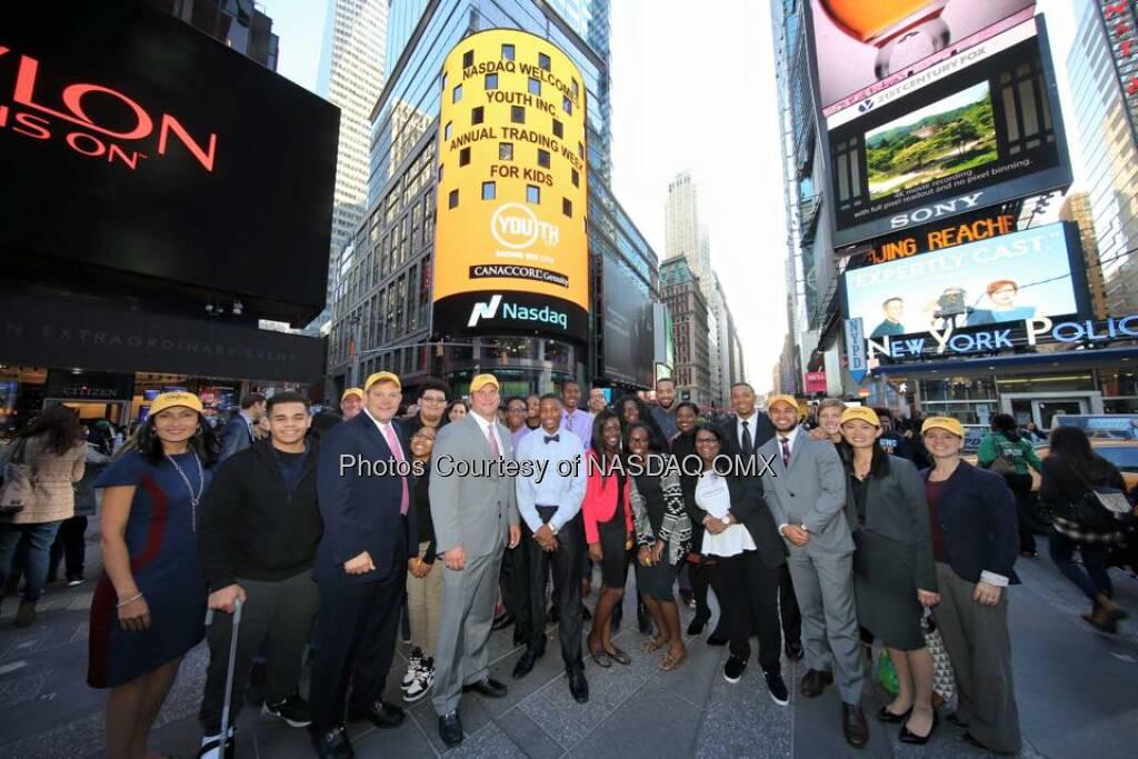 Youth Incorporated rang the Nasdaq Closing Bell!  Source: http://facebook.com/NASDAQ (21.10.2015)