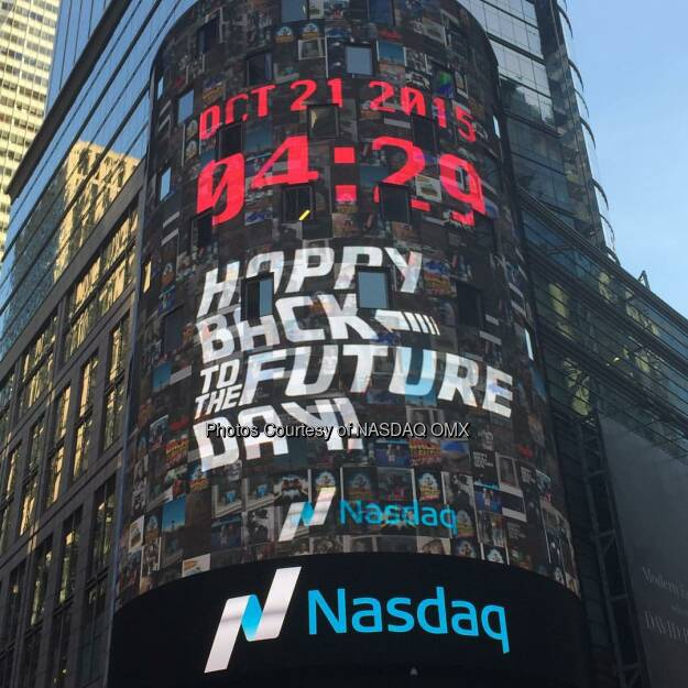 October 21st 2015, 4:29pm your #BackToTheFutureDay posts appear on the @Nasdaq Tower in #TimesSquare courtesy of #Nasdaq and @PayPal #BackToTheFuture #BTTF2015 watch the full video on #Periscope  Source: http://facebook.com/NASDAQ (22.10.2015)
