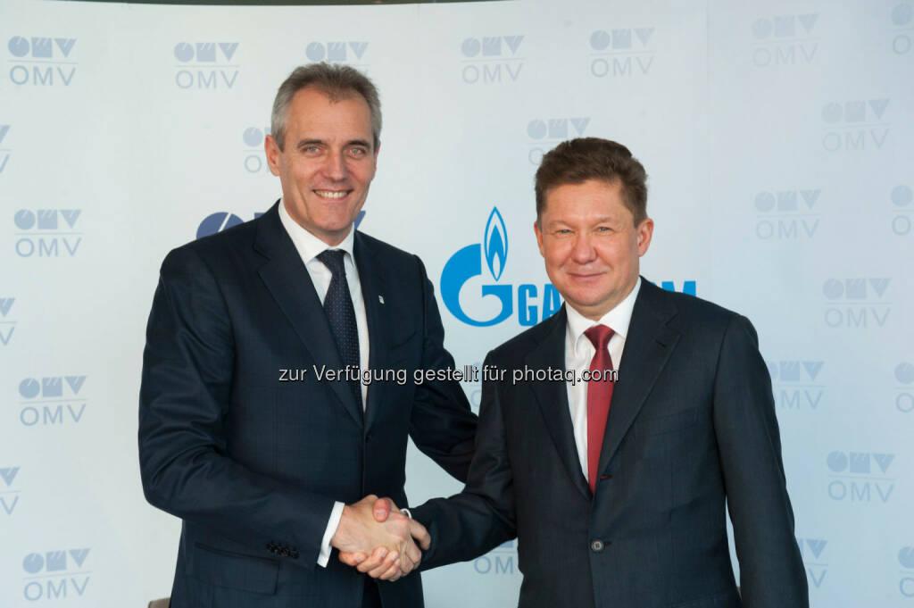 Rainer Seele, OMV Vorstandsvorsitzender, Alexey Miller, Chairman des Gazprom Management Committee: Gazprom und OMV unterzeichneten Memorandum of Understanding für Erdöllieferungen (C) OMV, © Aussendung (23.10.2015)