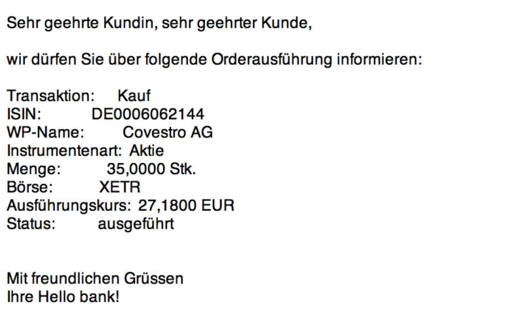 Tag 79: Kauf 35 Covestro zu 27,18 Euro (23.10.2015)