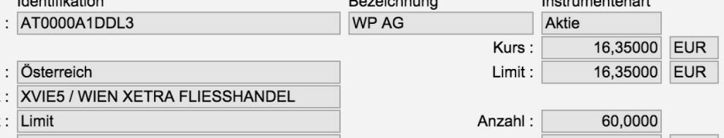 Tag 81: Kauf 60 WP AG zu 16,35 (28.10.2015)
