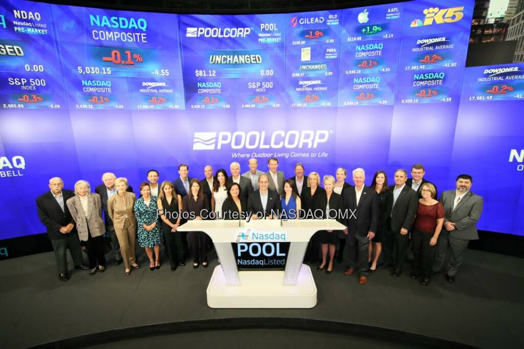 PoolCorp rings the Nasdaq Opening Bell! #Pool20Years $POOL  Source: http://facebook.com/NASDAQ (28.10.2015)