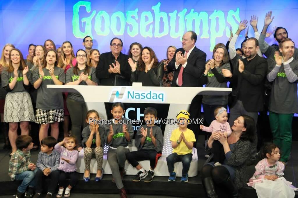 #Goosebumps and R.L.Stine rang the Nasdaq Opening Bell with Scholastic! #HappyHalloween  Source: http://facebook.com/NASDAQ (30.10.2015)
