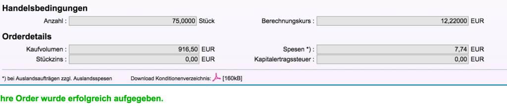 Tag 84: Kauf 75 Knock-Out P/DAX EUR 12.179,1985 31.12.2099 zu 12,22 , weil Position von Tag 68 ausgeknockt wurde  (02.11.2015)