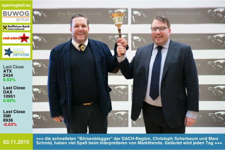 """#openingbell am 3.11.: Die schnellsten Börsenblogger"""" der DACH-Region,  Christoph Scherbaum und Marc Schmid, haben viel Spaß beim Interpretieren von Markttrends. Geläutet wird jeden Tag. http://dieboersenblogger.de http://www.openingbell.eu"""