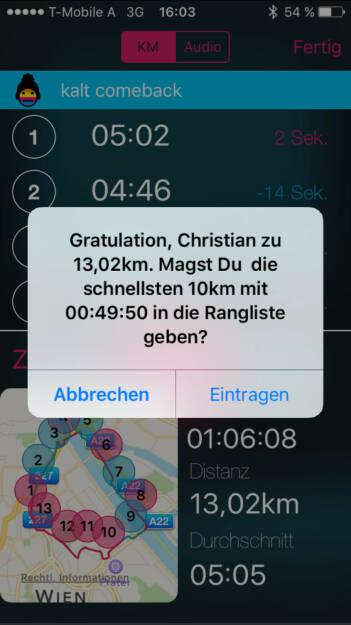 Comeback nach 1 Monat Pause, die Runplugged-App funktioniert noch und ist einfach lässig (04.11.2015)