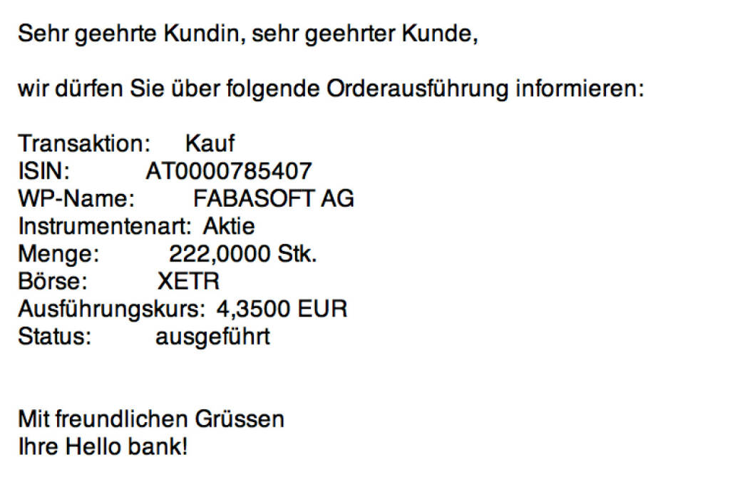 Tag 86: Kauf 222 Fabasoft zu 4,35 Euro (04.11.2015)