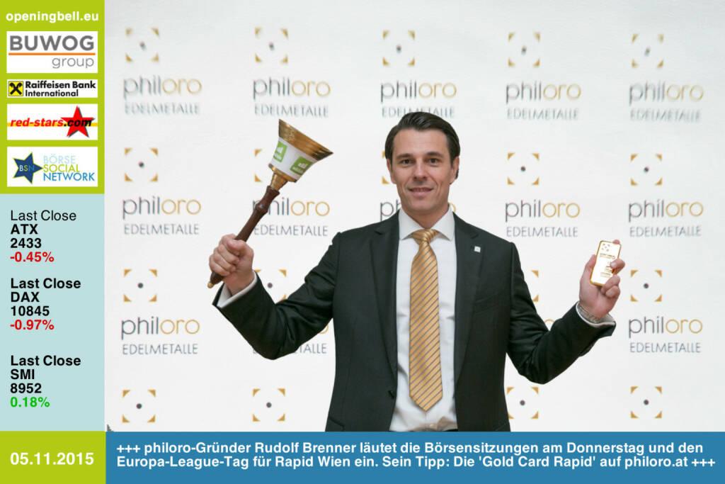 #openingbell am 5.11: philoro-Gründer Rudolf Brenner läutet die Börsensitzungen am Donnerstag und den Europa-League-Tag für Rapid Wien ein. Sein Tipp: Die 'Gold Card Rapid' auf http://www.philoro.at http://www.openingbell.eu (05.11.2015)