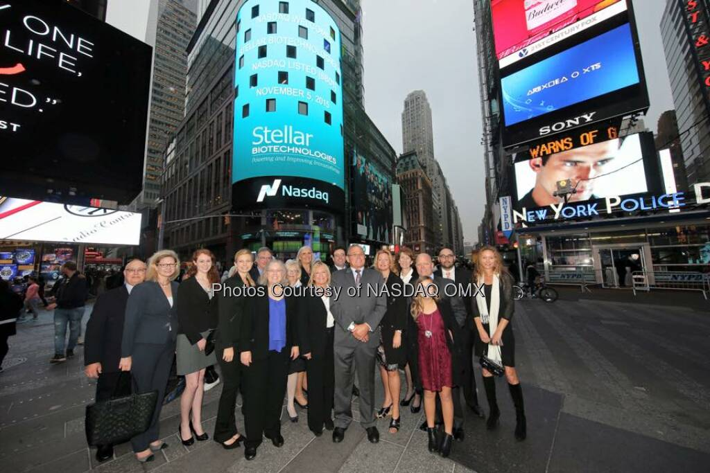 Stellar Biotechnologies rings the Nasdaq Closing Bell! $SBOT  Source: http://facebook.com/NASDAQ (06.11.2015)