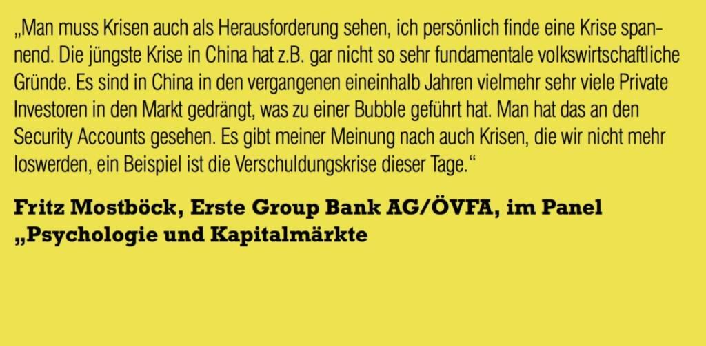 "Fritz Mostböck, Erste Group Bank AG/ÖVFA, im Panel ""Psychologie und Kapitalmärkte (06.11.2015)"