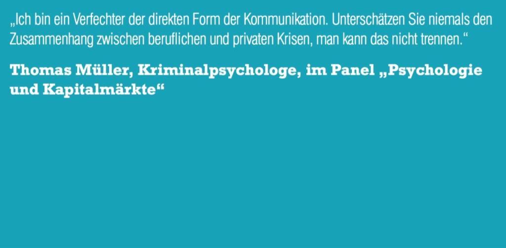 "Thomas Müller, Kriminalpsychologe, im Panel ""Psychologie und Kapitalmärkte"" (06.11.2015)"