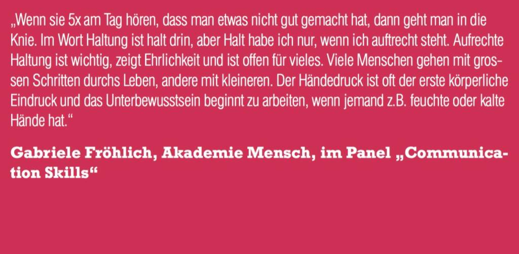 """Gabriele Fröhlich, Akademie Mensch, im Panel """"Communication Skills"""" (06.11.2015)"""