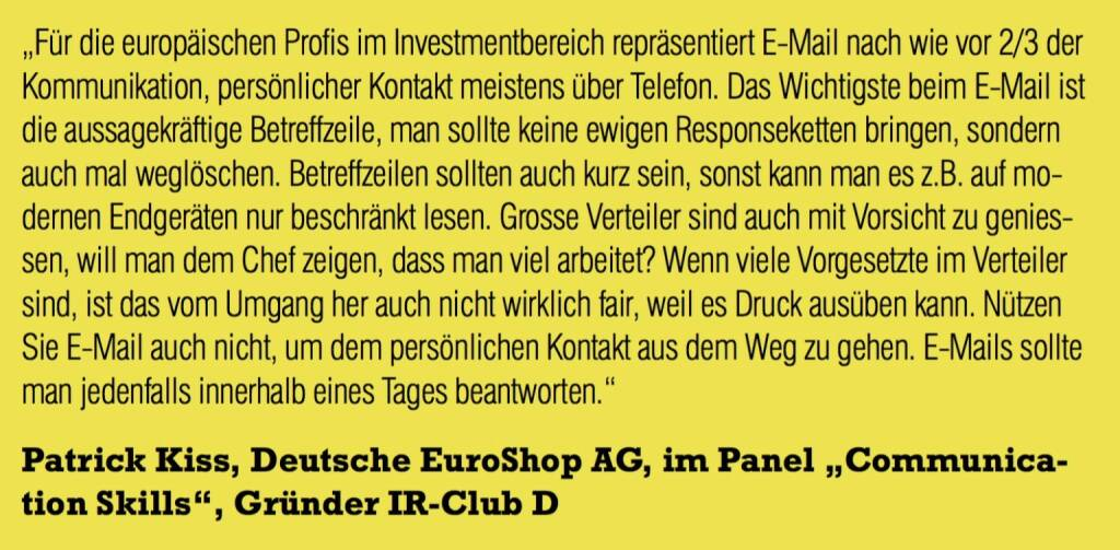"Patrick Kiss, Deutsche EuroShop AG, im Panel ""Communication Skills"", Gründer IR-Club D (06.11.2015)"