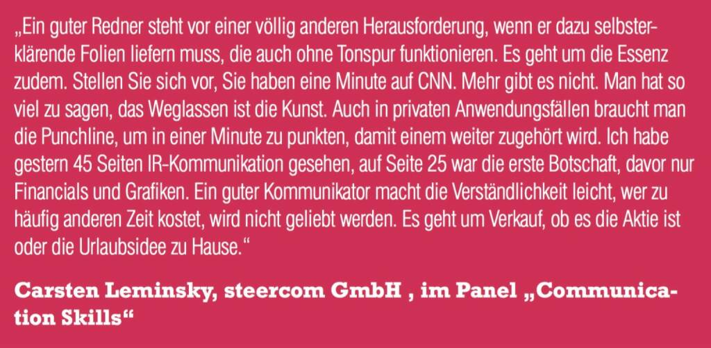 "Carsten Leminsky, steercom GmbH , im Panel ""Communication Skills (06.11.2015)"