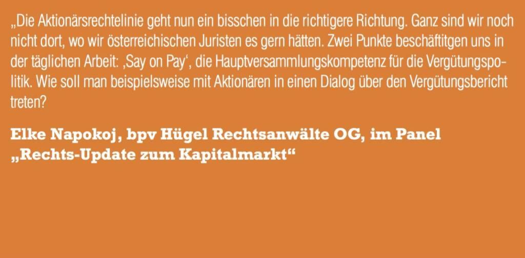 "Elke Napokoj, bpv Hügel Rechtsanwälte OG, im Panel ""Rechts-Update zum Kapitalmarkt"" (06.11.2015)"