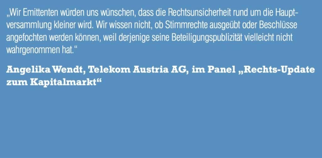 """Angelika Wendt, Telekom Austria AG, im Panel """"Rechts-Update zum Kapitalmarkt"""" (06.11.2015)"""