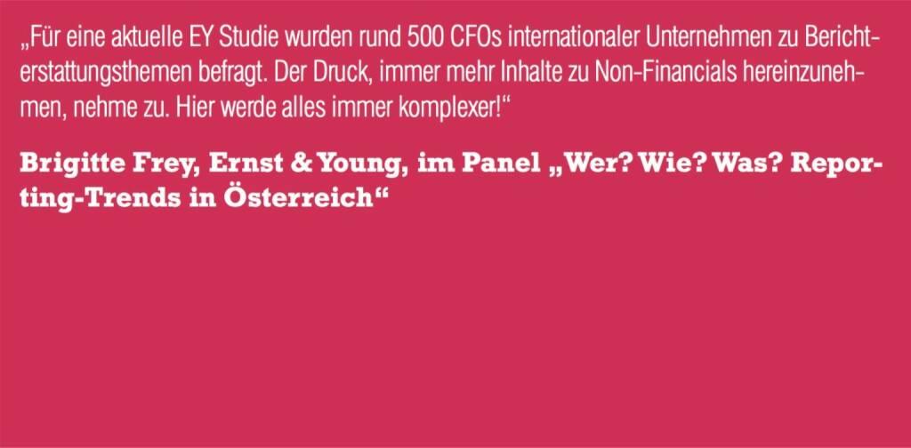 """Brigitte Frey, Ernst & Young, im Panel """"Wer? Wie? Was? Repor- ting-Trends in Österreich"""" (06.11.2015)"""